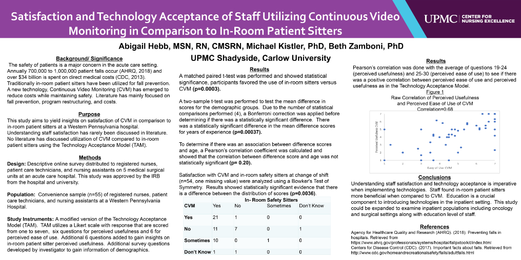 Satisfaction and Technology Acceptance of Staff Utilizing Continuous Video Monitoring in Comparison to In-Room Patient Sitters
